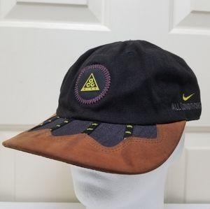 Vintage Nike ACG Hat Strapback Leather Swoosh Logo